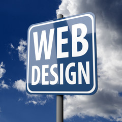 Road sign Blue with words Web Design