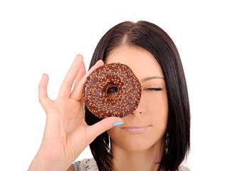 Фото девушка с пончиком