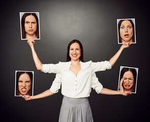 woman with different emotional faces