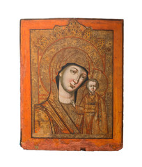 Lady of Kazan type of icon, Virgin Mary and Jesus, 19th cent