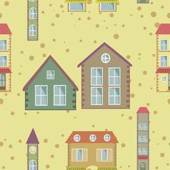 a colorful city seamless pattern
