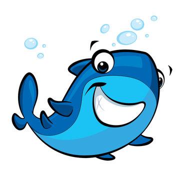 Cartoon smiling baby shark