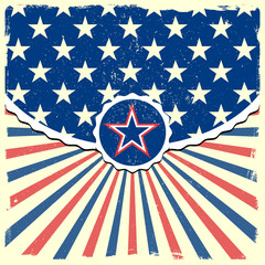 star on a patriotic striped background
