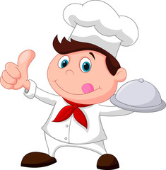 Chef holding a metal food platter and thumb up