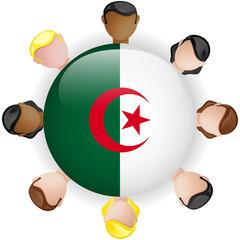 Algeria Flag Button Teamwork People Group
