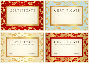 Vintage Certificate / Diploma template. Background design. Set