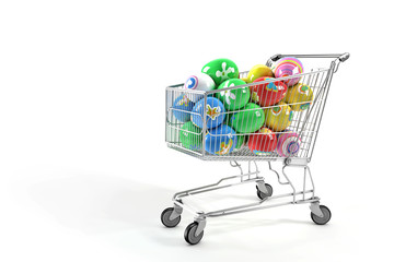 Shopping cart and Easter eggs