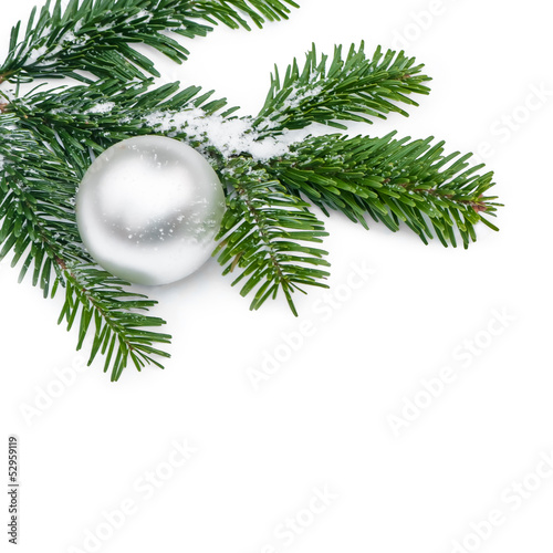 tannenzweig mit silberner christbaumkugel frohe weihnachten stockfotos und lizenzfreie bilder. Black Bedroom Furniture Sets. Home Design Ideas