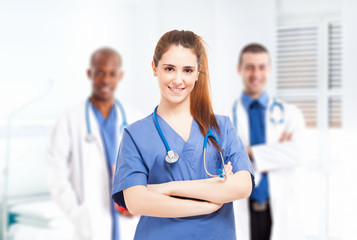 Nurse in front of her medical team