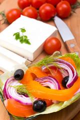 Greek salad preparation