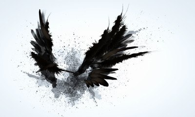 Black wings Wall mural