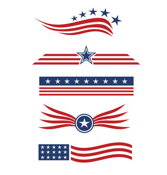 USA star flag logo design elements