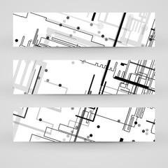 Vector banner set for your design, circuit board Illustration.