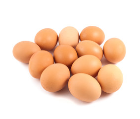 Bunch of brown eggs isolated