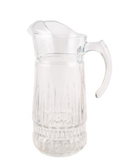 Transparent glass pitcher ewer isolated