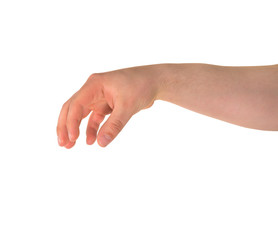 Holding with fingers hand gesture isolated