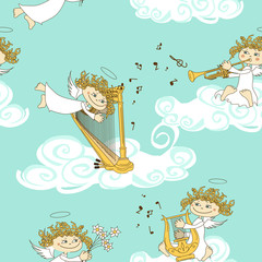 Seamless pattern of band of angels