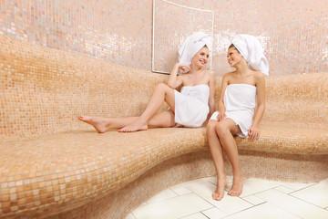 Friends in Turkish sauna