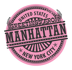 Stamp with text Greetings from Manhattan, New York City, vector