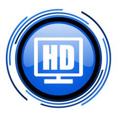 hd display circle blue glossy icon