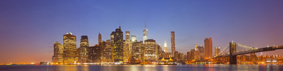 New York City, USA colorful night skyline panorama
