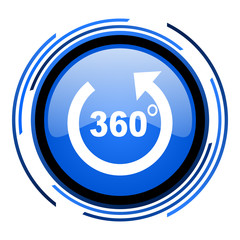panorama circle blue glossy icon