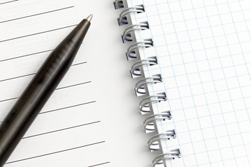 Notebook pages with pen. Isolated over white.