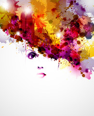 Fototapete - abstract design elements with women face