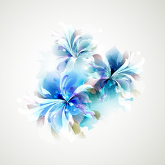 Wall Murals Floral woman Tender background with blue abstract flowers