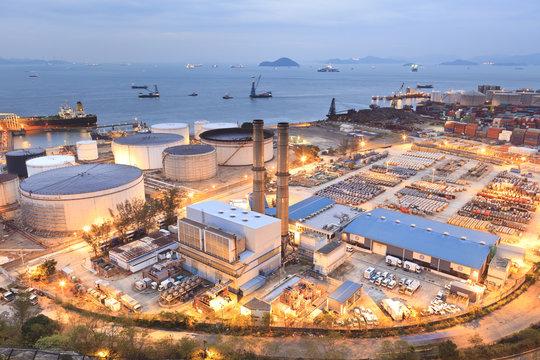 Oil tanks at night in Hong Kong