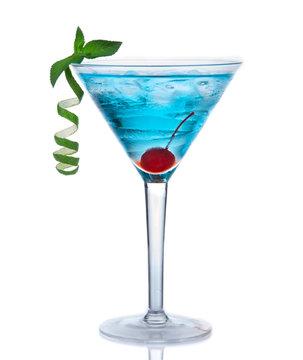 Tropical Martini cosmopolitan cocktail or blue hawaiian