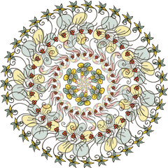 Circular pattern with leaves, flowers and swirls