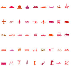 Transport silhouette icon set red series