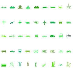 Transport silhouette icon set green series