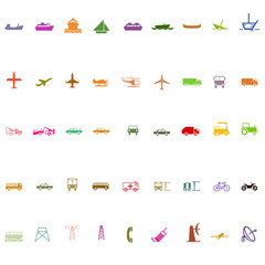 Transport silhouette icon set colorful series