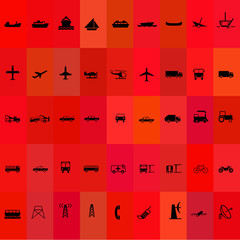Transport silhouette icon set red background
