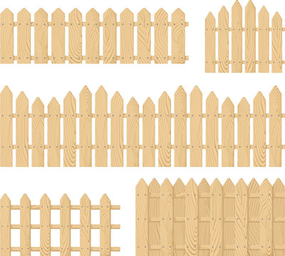 wooden fence vector set