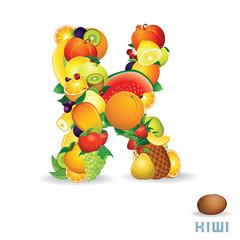 Alphabet From Fruit. Letter K