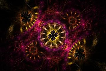 Dark floral fractal background, image
