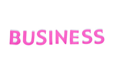 Pink word business on the white background
