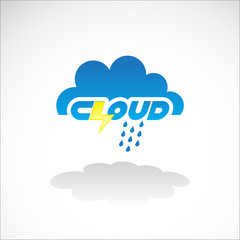 Cloud icon with lightning - illustration
