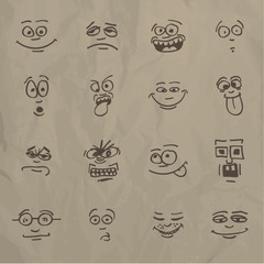 Emoticons - sketch on a crumpled paper