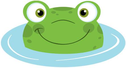 Cute Frog Smiling In Water
