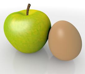 Apfel und Ei Biologisch