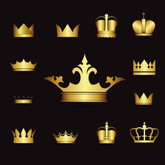 illustration set gold crowns on black background