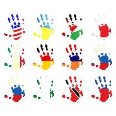 World flags set - hockey hand shape - vector illustration