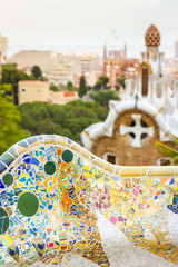 Detail of colorful mosaic in a bench of park Guell, designed by