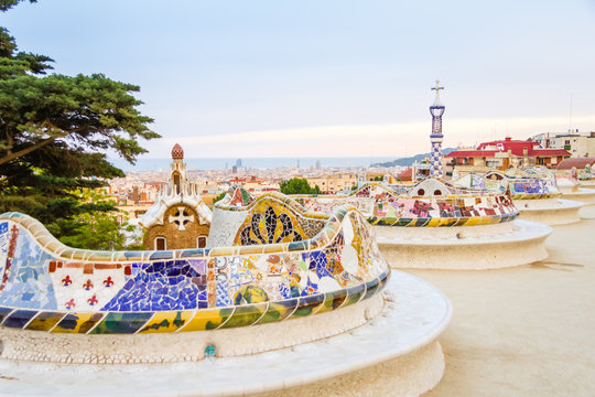 Colorful mosaic bench of park Guell, designed by Gaudi, in Barce