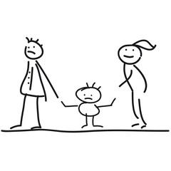 Scheidung - Sorgerecht - Eltern in Trennung und wütendes Kind