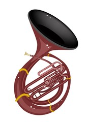 A Musical Sousaphone Isolated on White Background